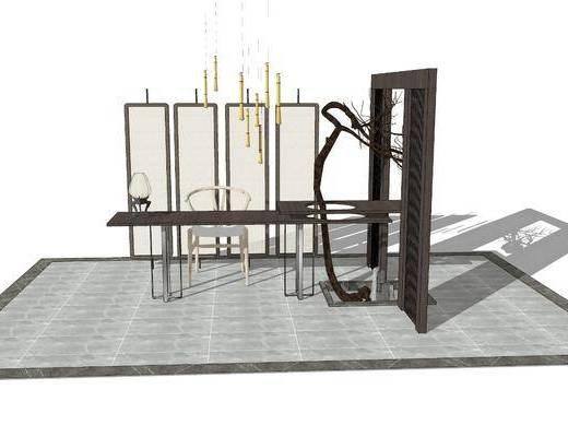 茶桌, 吊灯, 茶具组合, 屏风, 装饰画