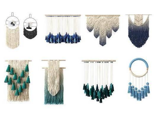 北欧流苏毛毯挂毯墙饰, 北欧, 墙饰, 流苏, 挂毯, 捕梦网, 羽毛
