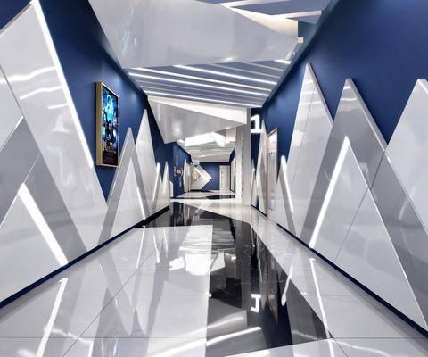 走廊过道, 电影院, 现代电影院走廊过道3d模型