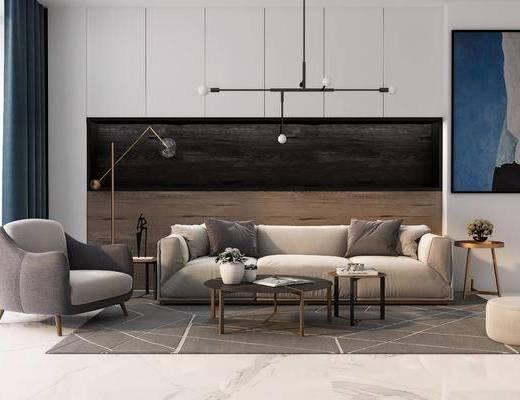 沙发组合, 沙发茶几组合, 吊灯, 现代