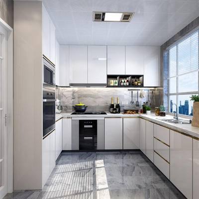 现代, 现代厨房, 厨房, 厨具, 橱柜, 消毒柜