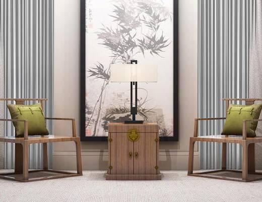 新中式, 中式, 单椅, 椅子, 边几, 台灯, 装饰画, 挂画