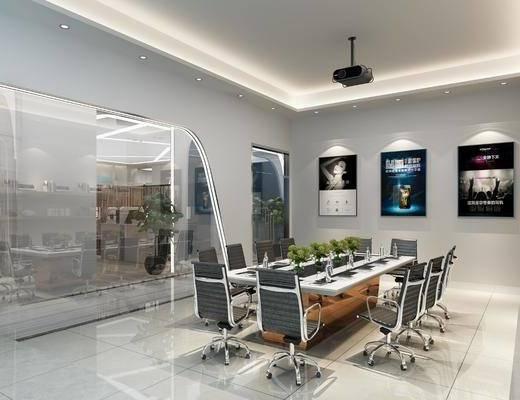 会议室, 会议桌, 单人椅, 办公椅, 投影仪, 盆栽, 绿植, 置物架, 书籍, 摆件, 装饰品, 陈设品, 装饰画, 挂画, 绿植植物, 现代