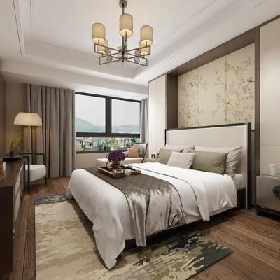 卧室, 主卧, 新中式卧室, 台灯, 中式吊灯, 背景墙, 双人床