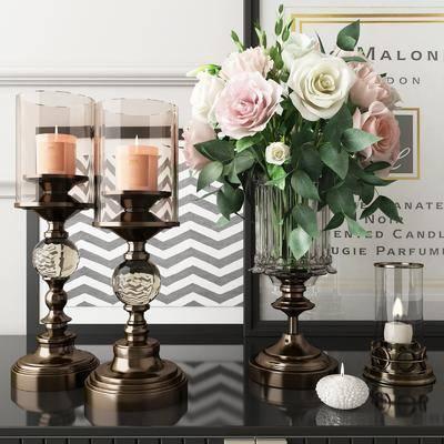 摆件组合, 欧式摆件组合, 花瓶花卉, 欧式