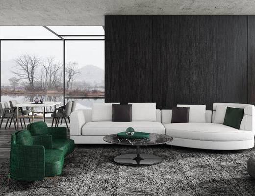 沙发组合, 沙发茶几组合, 现代沙发, 多人沙发, 单人沙发, 茶几, 现代