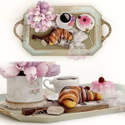 欧式, 田园风, 端盘, 布丁, 面包, 咖啡, 食物, 郁金香