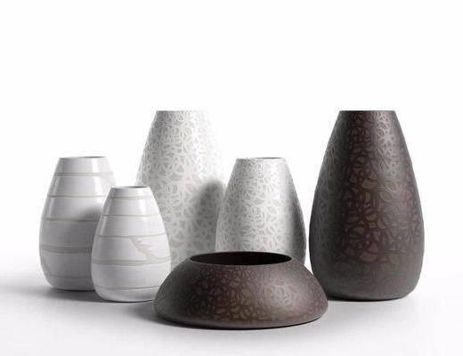 陶瓷花瓶, 陶瓷器皿, 摆件组合, 现代