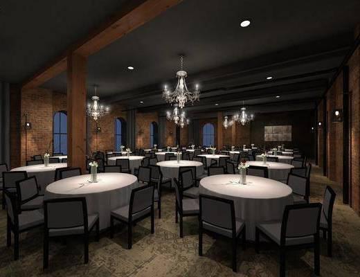 宴会厅, 餐桌, 餐椅, 单人椅, 吊灯, 花瓶花卉, 壁灯, 新中式