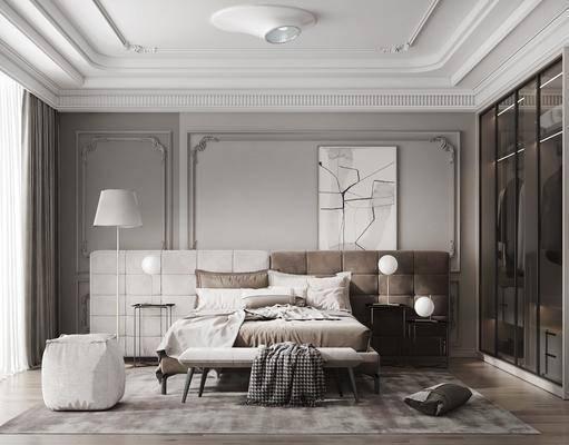 双人床, 落地灯, 衣柜, 床头柜, 边几, 台灯