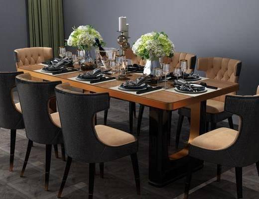 餐桌椅組合, 餐具組合, 花瓶花卉, 現代