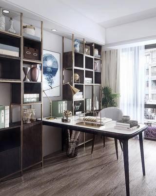 书桌, 书房, 摆件组合, 书柜