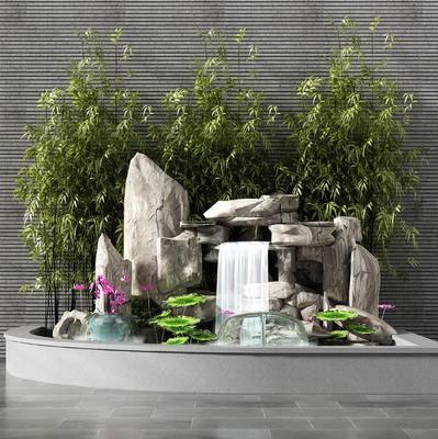 假山, 水景, 水池, 园艺小品, 中式