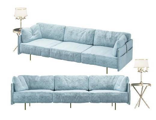 现代, 多人沙发, 边几, 台灯, 布艺沙发, 沙发