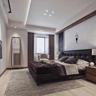 現代臥室, 現代床具, 雙人床, 床頭柜, 現代臺燈, 鏡子