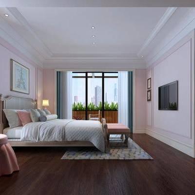 儿童房, 卧室, 现代, 现代卧室, 落地灯, 床, 挂画, 床头柜