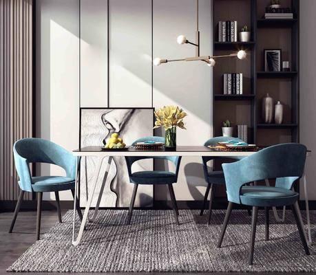 桌椅组合, 书柜组合, 现代轻奢