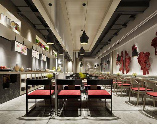 餐厅, 新中式餐厅, 桌椅组合, 收银台, 吊灯, 餐桌, 单椅, 新中式