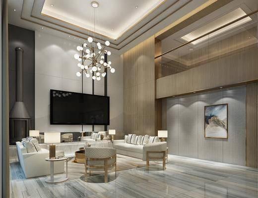 别墅客厅, 多人沙发, 茶几, 边几, 单人沙发, 吊灯, 台灯, 装饰画, 挂画, 现代