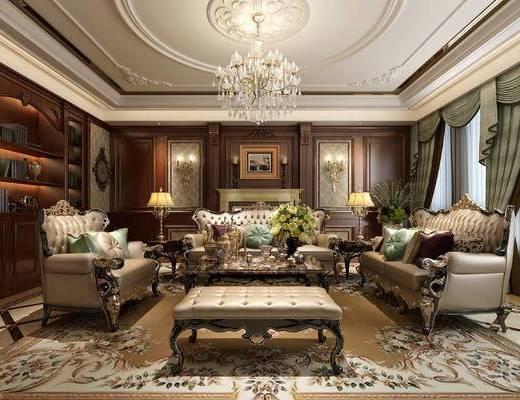 美式, 古典, 欧式, 客厅, 沙发, 茶几, 花瓶, 摆件, 壁炉, 壁灯, 吊灯, 台灯, 书柜, 置物柜, 装饰品, 陈设品