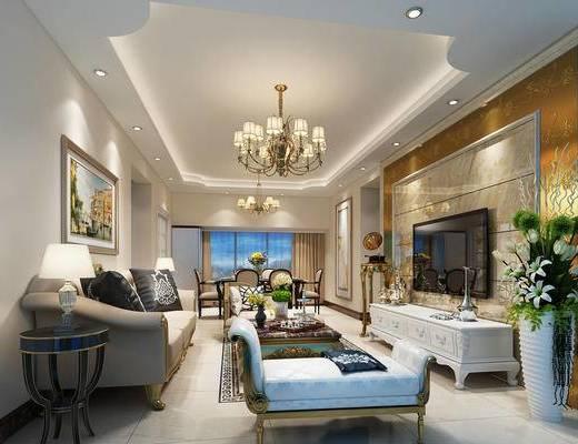 欧式风格, 客餐厅, 欧式客厅, 欧式沙发, 沙发组合, 沙发茶几组合