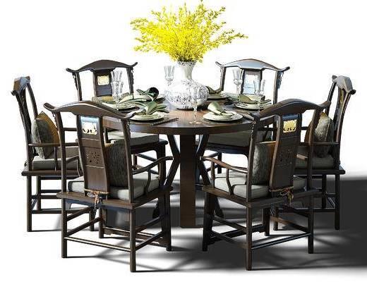 餐桌, 圆桌, 桌椅, 桌椅组合, 实木餐桌, 餐桌椅组合, 中式, 新中式, 花瓶