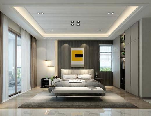 卧室, 床具组合, 双人床, 现代卧室, 衣柜, 床头柜, 吊灯, 现代