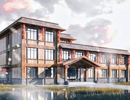 服务楼, 度假村, 木屋, 建筑