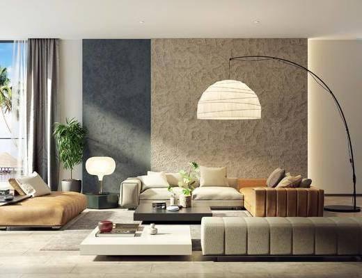 沙发组合, 茶几组合, 落地灯, 绿植