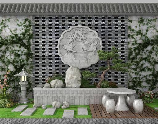 园艺小品, 园?#31449;?#35266;, 观砖雕, 假山小品, 石桌, 凳子, 植物墙, 新中式