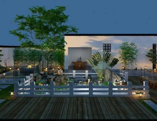 庭院, 院落院子, 别墅, 树木, 植物绿植, 池塘, 石头, 桌子, 单人椅, 餐具, 中式