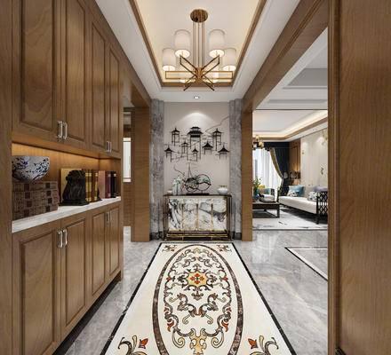 新中式玄关, 案几, 吊灯, 墙面装饰, 鞋柜, 地拼花