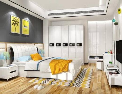 单人床, 衣柜, 电视柜, 装饰画, 床头柜