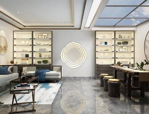 茶室, 会客厅, 多人沙发, 茶几, 边几, 单人椅, 书桌, 凳子, 装饰画, 挂画, 装饰柜, 装饰品, 陈设品, 墙饰, 新中式