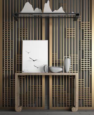 实木玄关柜, 端景台, 屏风组合, 吊灯, 新中式