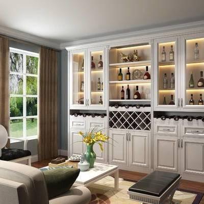 酒柜效果, 酒柜, 欧式酒柜, 简欧, 沙发组合