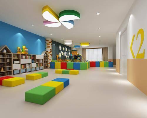 幼儿园, 娱乐大厅, 玩具, 装饰柜, 书籍, 装饰品, 吸顶灯, 陈设灯, 墙饰, 现代