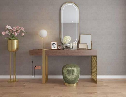梳妆台, 化妆台, 摆件, 装饰镜, 装饰品, 陈设品, 现代