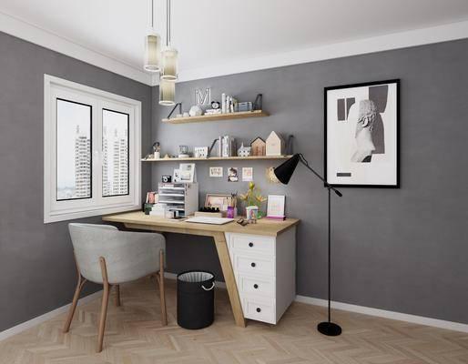 桌椅组合, 书桌, 单人椅, 落地灯, 装饰画, 挂画, 置物架, 吊灯, 摆件, 垃圾桶, 北欧