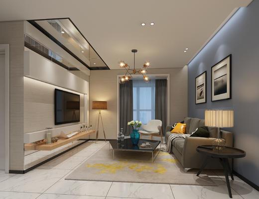 现代, 北欧, 客厅, 餐厅, 沙发组合, 现代沙发