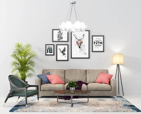 沙发组合, 现代, 多人沙发, 落地灯, 盆栽, 单椅, 椅子, 挂画, 装饰画, 吊灯, 茶几