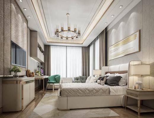 卧室, 显得轻奢卧室, 床具组合, 摆件组合