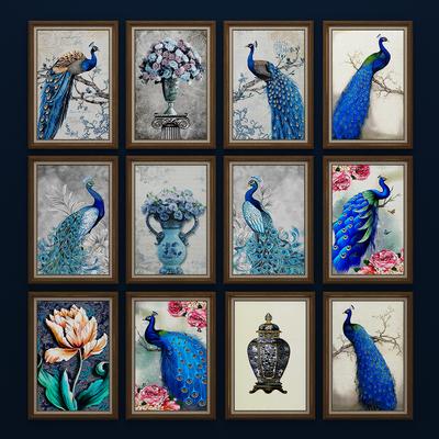 美式孔雀插花, 装饰画, 挂画, 壁画