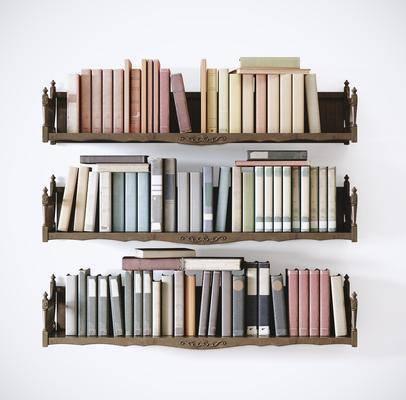 背景墙, 书籍, 装饰架