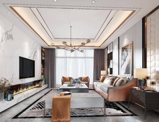 客厅, 餐厅, 现代客餐厅, 沙发组合, 茶几, 摆件组合, 单椅