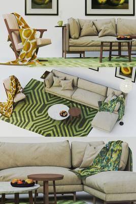 沙发组合, 多人沙发, 茶几, 转角沙发, 现代, 沙发, 单椅, 休闲椅