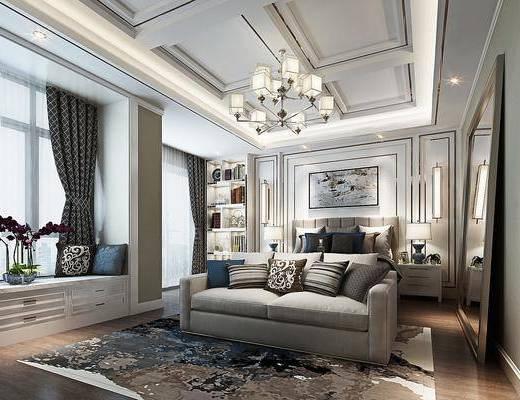 新中式卧室, 双人床, 吊灯, 双人沙发, 床头柜, 挂画