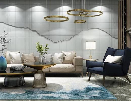 现代, 新中式, 沙发组合, 沙发茶几组合, 多人沙发, 单人沙发, 茶几, 边几, 台灯, 吊灯, 墙饰