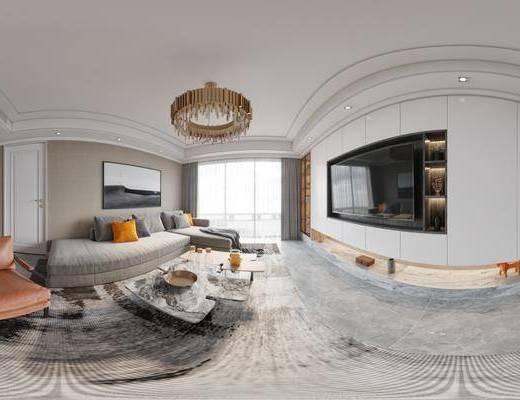 现代客厅, 客厅, 餐厅, 沙发组合, 家装全景