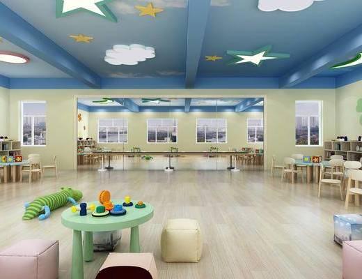 幼儿园舞蹈室, 厨房餐厅, 桌椅组合, 单人椅, 餐桌, 餐椅, 餐具, 橱柜, 厨具, 冰箱, 玩具, 玩偶, 现代